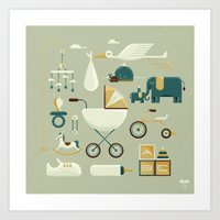 nursery Art Prints featuring NURSERY by Christopher Vela
