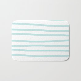 Simply Drawn Stripes Succulent Blue on White Bath Mat