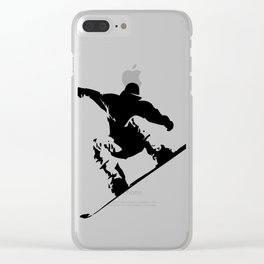 Snowboarding Black on White Abstract Snow Boarder Clear iPhone Case