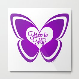 FREE TO FLY butterfly - purple Metal Print