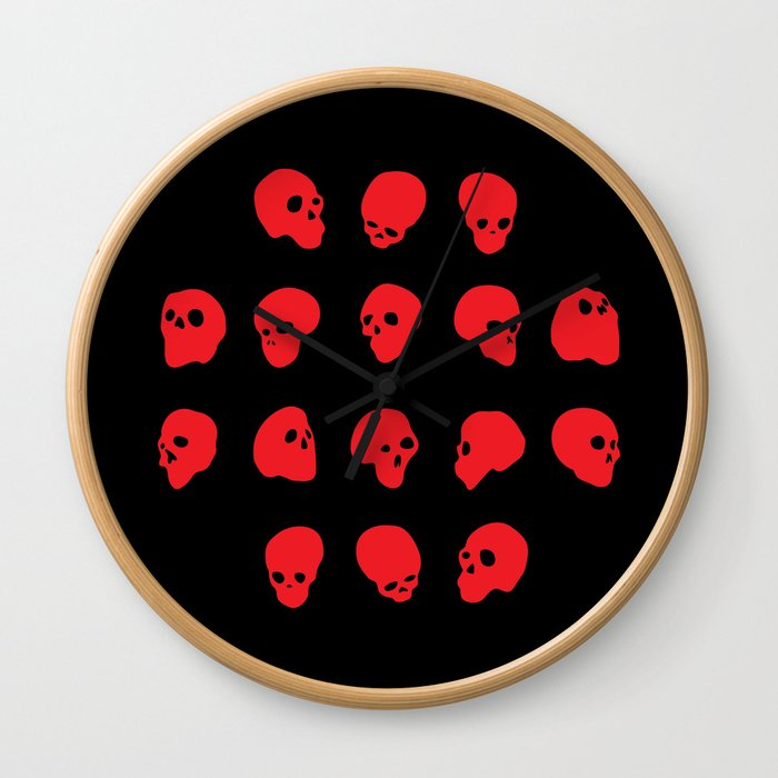 redhead - red on black Wall Clock