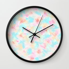 Modern Girly Pink Yellow Blue Paint Daub Art Wall Clock