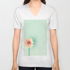 A poem, pink daisy over mint Unisex V-Neck