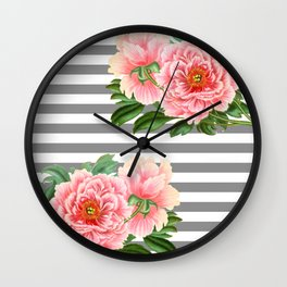 Pink Peonies Grey Stripes Chic Wall Clock