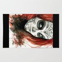 dia de los muertos Area & Throw Rugs featuring Dia de los Muertos by Elena Tsuya