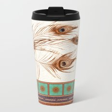 Peacock Feathers and Graphic Stripes and Tile Metal Travel Mug