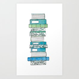 Botanical Books in Aqua Art Print