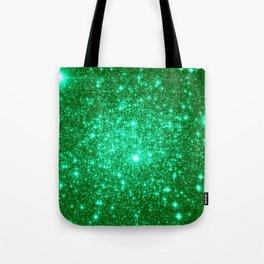 Emerald Green Glitter Stars Tote Bag