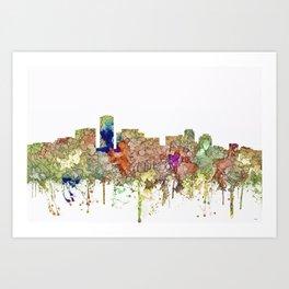 Long Beach, California Skyline - Faded Glory Art Print