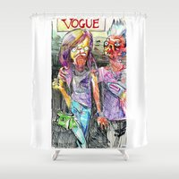 vogue Shower Curtains featuring Vogue pugs by Stin