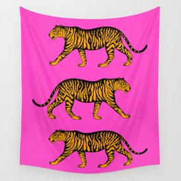 Tigers (Magenta and Marigold) Wall Tapestry