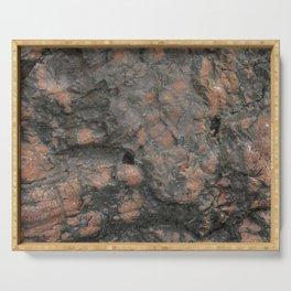Orange, pink dark grey rough stone texture Serving Tray