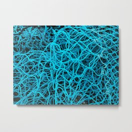 Bright Blue Fishing Nets Repeat Pattern Metal Print