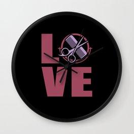 Hairstylist Love Föhn Spiegel Kamm Wall Clock