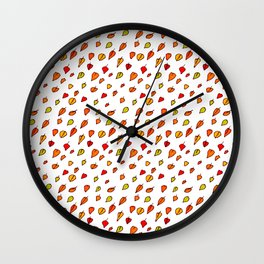 Hand drawn red orange green watercolor leaves pattern Wall Clock