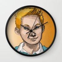 tintin Wall Clocks featuring Tintin by Zalazny