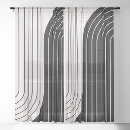 Two Tone Line Curvature VIII  Sheer Curtain