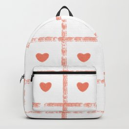 Small Heart Love Pastel Pink with Square Pattern Backpack