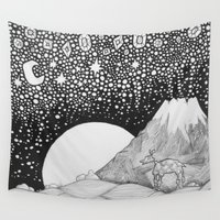starry night Wall Tapestries featuring Starry night by Sushibird