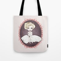 marylin monroe Tote Bags featuring Sparkling Marylin by Zazie-bulles