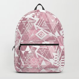 Abstract ethnic pattern in dusky pink, white colors. Backpack