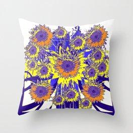 Sunflower Field Blue Shadows Abstract Throw Pillow