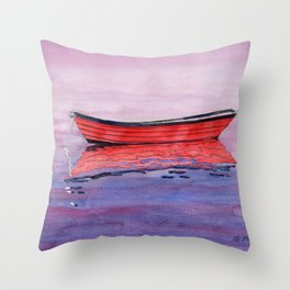 Red Dory Reflections Throw Pillow