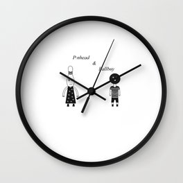 Pinhead & Ballboy In Black & White Wall Clock