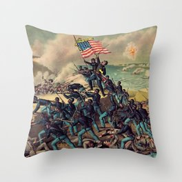 African American Civil War Troops Storming Fort Wagner Landscape Throw Pillow