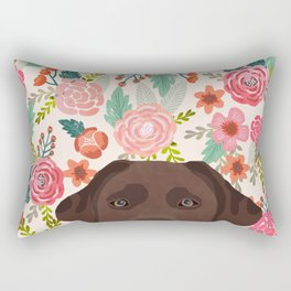 Chocolate Lab florals dog breed portrait pet art dog lover gifts labrador retriever Rectangular Pillow