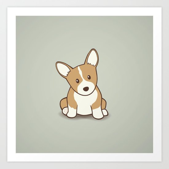 Welsh Corgi Puppy Illustration Art Print