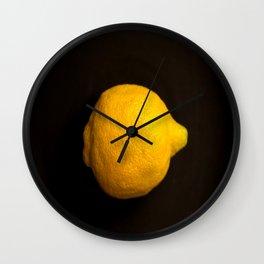 Yellow Lemon On A Black Background #decor #society6 Wall Clock