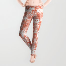 just owls flame orange Leggings
