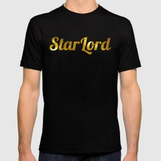 Golden Star Lord X-LARGE Black Mens Fitted Tee