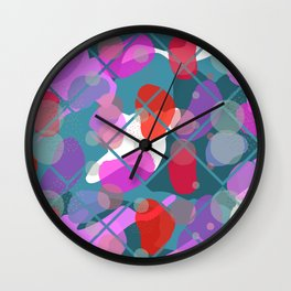 Retro Abstract Multicolored 80s Teal Memphis Pattern Wall Clock