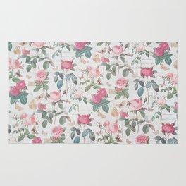 Romantic rustic vintage pink roses typography floral Rug