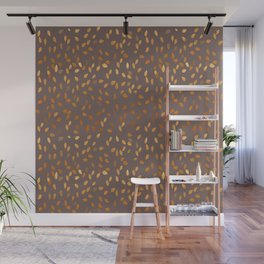 Golden Rain - Leaves on Dark Taupe Background Wall Mural