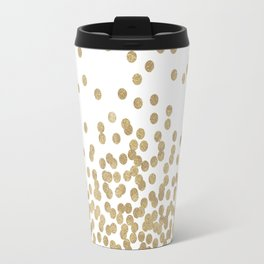 Gold Glitter Dots in scattered pattern Travel Mug