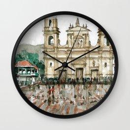 Urban watercolor - Colombia Wall Clock