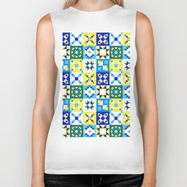 Moroccan tiles pattern with blue and yellow no4 Biker Tank