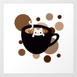 Cat in a Cup of Coffee Art Print