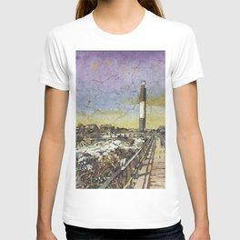 Oak Island lighthouse.  Watercolor batik painting of Oak Island lighthouse in North Carolina. T-shirt