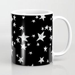 Linocut black and white stars outer space astronauts minimal Coffee Mug