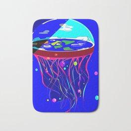 Flat Earth Jellyfish Spaceship Bath Mat