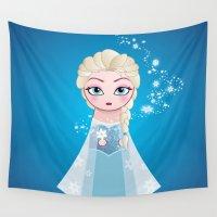 elsa Wall Tapestries featuring Kokeshi Elsa  by Pendientera