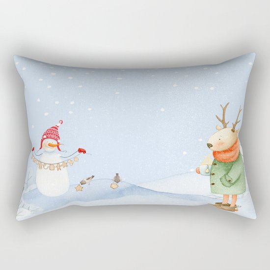 Merry christmas- Snowman Deer and birds are having Winter fun Rectangular Pillow