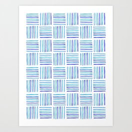 Sideways Stripes - Blue Watercolor Pattern Art Print