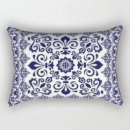 Oriental Damask blue on white Rectangular Pillow