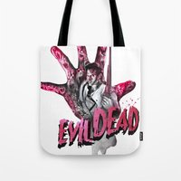 "evil dead Tote Bags featuring ""EVIL DEAD"" BRUCIE IS BACK by Superdroso"