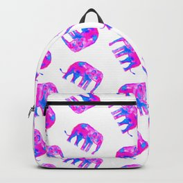Watercolor Elephants in Bubblegum Pink + White Backpack